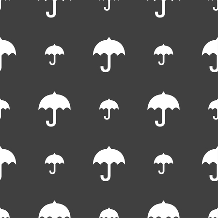 resistant: umbrella icon sign. Seamless pattern on a gray background. illustration Stock Photo