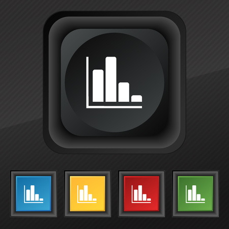 sales trend: Infographic icon symbol. Set of five colorful, stylish buttons on black texture for your design. illustration Stock Photo