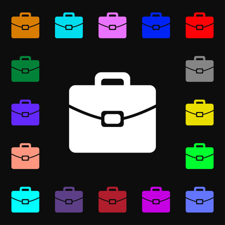 attache: suitcase icon sign. Lots of colorful symbols for your design. illustration Stock Photo