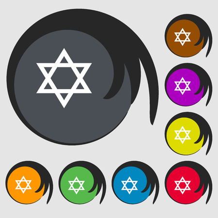 pentagram icon. Symbols on eight colored buttons. illustration