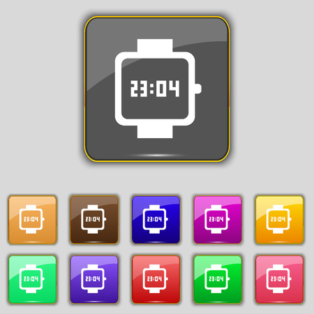 straps: wristwatch icon sign. Set with eleven colored buttons for your site. illustration