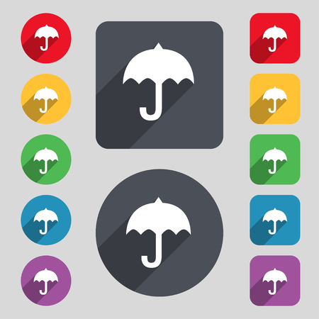 resistant: umbrella icon sign. A set of 12 colored buttons and a long shadow. Flat design. illustration