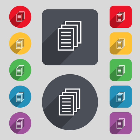 duplicate: Copy file, Duplicate document icon sign. A set of 12 colored buttons and a long shadow. Flat design. illustration