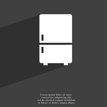coolness: Refrigerator symbol Flat modern web design with long shadow and space for your text. illustration Stock Photo