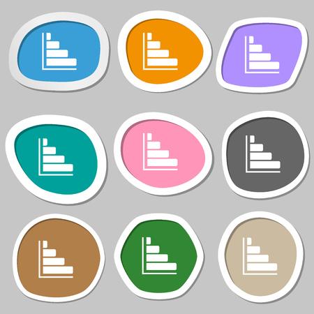 sales trend: Infographic symbols. Multicolored paper stickers. illustration