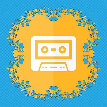 compact cassette: audiocassette icon. Floral flat design on a blue abstract background with place for your text. illustration Stock Photo