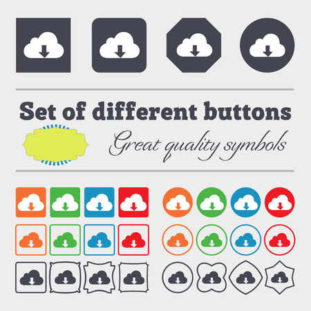 secure backup: Backup icon sign. Big set of colorful, diverse, high-quality buttons. illustration