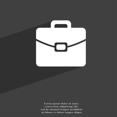 attache: suitcase symbol Flat modern web design with long shadow and space for your text. illustration