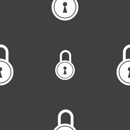 closed lock: closed lock icon sign. Seamless pattern on a gray background. illustration Stock Photo