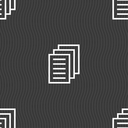duplicate: Copy file, Duplicate document icon sign. Seamless pattern on a gray background. illustration