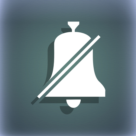 bell ringer: No bell, Prohibition icon. On the blue-green abstract background with shadow and space for your text. illustration