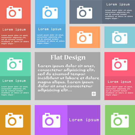 capturing: camera icon sign. Set of multicolored buttons with space for text. illustration