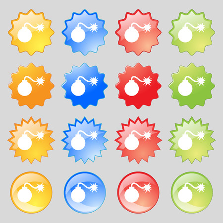 aggression: bomb icon sign. Big set of 16 colorful modern buttons for your design. illustration
