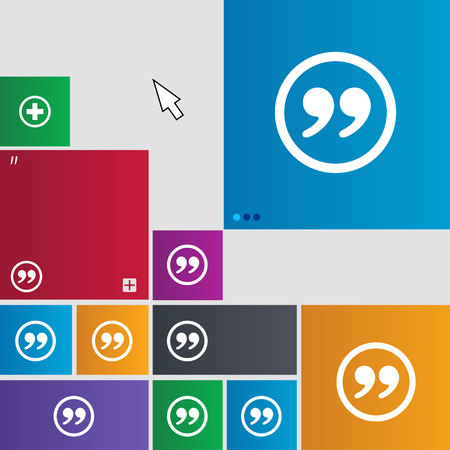 inverted: Double quotes icon sign. buttons. Modern interface website buttons with cursor pointer. illustration