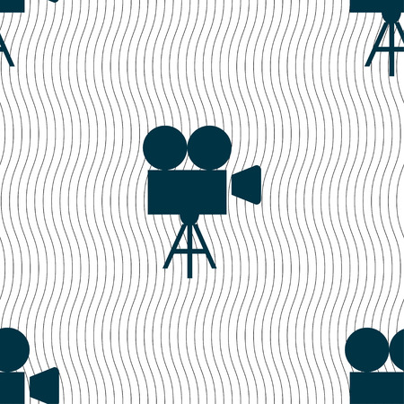 video camera: Video camera icon sign. Seamless pattern with geometric texture. illustration