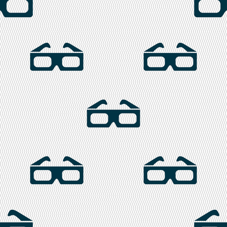 stereoscope: 3d glasses icon sign. Seamless pattern with geometric texture. illustration