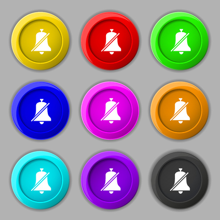 bell ringer: No bell, Prohibition icon sign. symbol on nine round colourful buttons. illustration Stock Photo