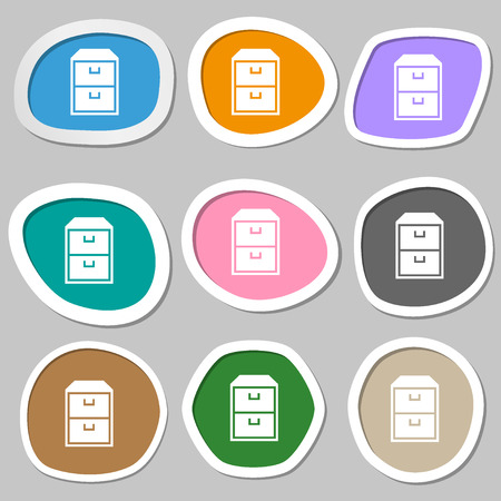 nightstand: nightstand symbols. Multicolored paper stickers. Vector illustration Stock Photo