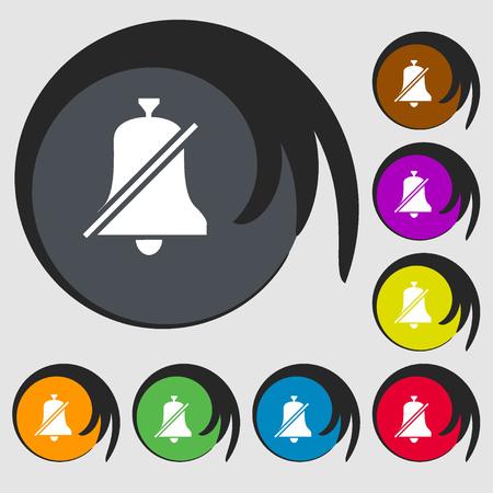 interdiction: Aucune cloche, interdiction ic�ne. Symboles sur huit boutons color�s. illustration Banque d'images