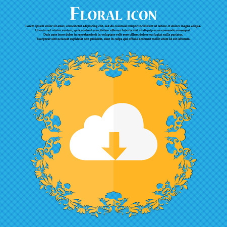 recover: Backup icon. Floral flat design on a blue abstract background with place for your text. Vector illustration Stock Photo