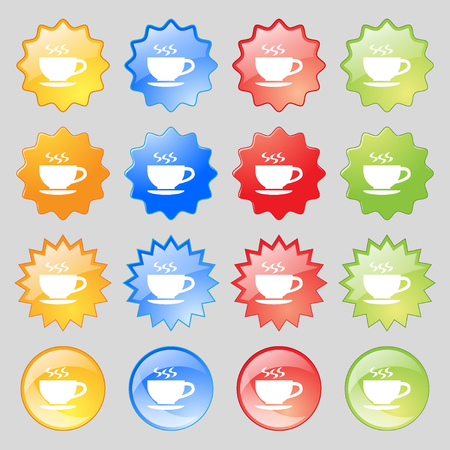 dine: The tea and cup icon sign. Big set of 16 colorful modern buttons for your design. illustration Stock Photo