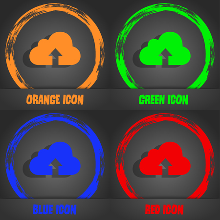 archiving: Backup icon. Fashionable modern style. In the orange, green, blue, red design. Vector illustration Stock Photo