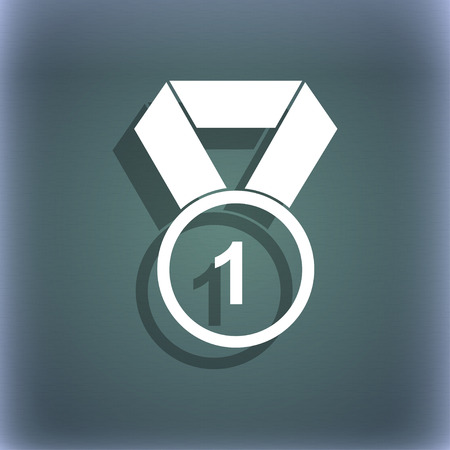 bluegreen: award medal icon. On the blue-green abstract background with shadow and space for your text. illustration