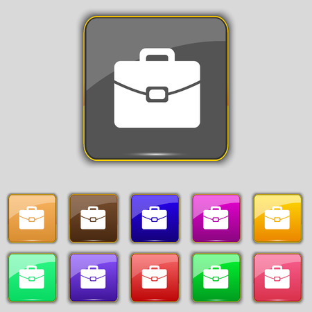 attache: suitcase icon sign. Set with eleven colored buttons for your site. illustration
