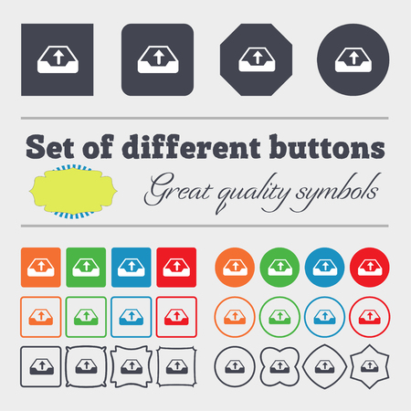 recover: Backup icon sign. Big set of colorful, diverse, high-quality buttons. illustration