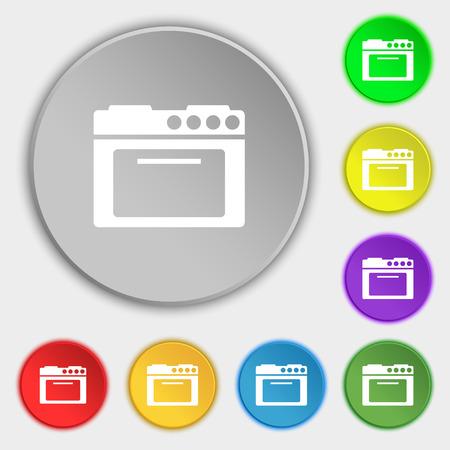kitchen stove: kitchen stove icon sign. Symbol on eight flat buttons. illustration