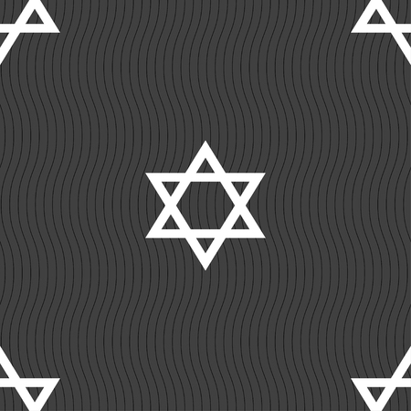 pentagram icon sign. Seamless pattern on a gray background. illustration Stock Photo