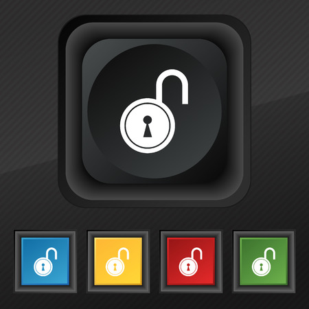 encryption icon: open lock icon symbol. Set of five colorful, stylish buttons on black texture for your design. Vector illustration
