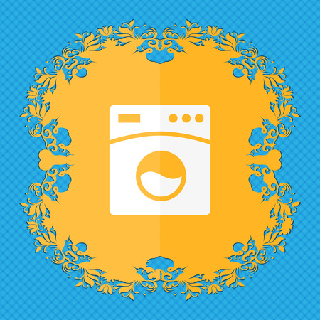 washhouse: Washing machine icon. Floral flat design on a blue abstract background with place for your text. illustration