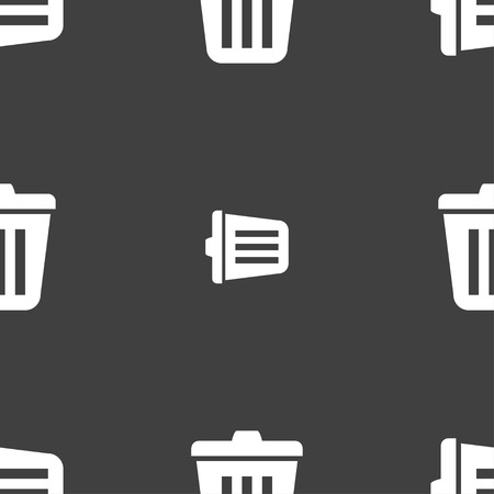 sewage: Bin icon sign. Seamless pattern on a gray background. illustration