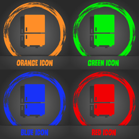 coolness: Refrigerator icon. Fashionable modern style. In the orange, green, blue, red design. illustration