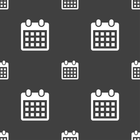 calendar page: calendar page icon sign. Seamless pattern on a gray background. illustration