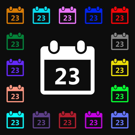 calendar page: calendar page icon sign. Lots of colorful symbols for your design. illustration Stock Photo