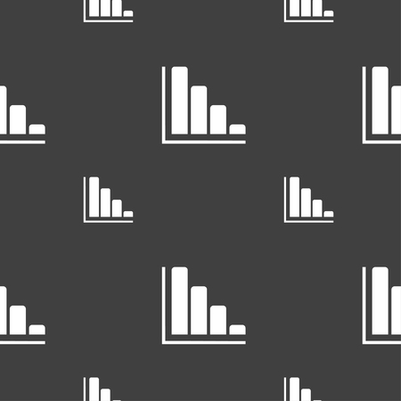 economic forecast: Infographic icon sign. Seamless pattern on a gray background. illustration