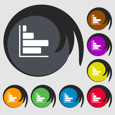 economic forecast: Infographic icon. Symbols on eight colored buttons. illustration Stock Photo