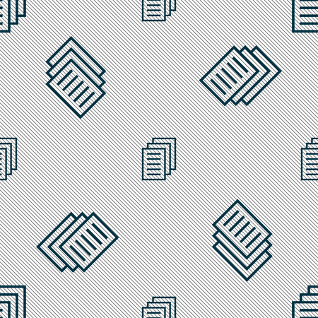 duplicate: Copy file, Duplicate document icon sign. Seamless pattern with geometric texture. illustration Stock Photo