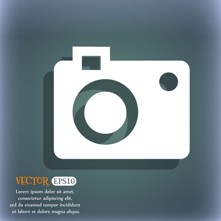 bluegreen: camera  icon. On the blue-green abstract background with shadow and space for your text. Vector illustration