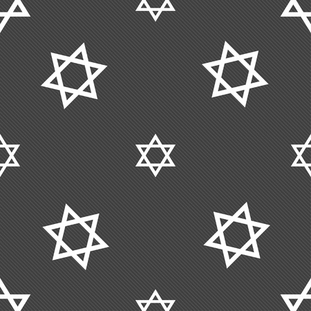 pentagram: pentagram icon sign. Seamless pattern on a gray background. illustration Stock Photo
