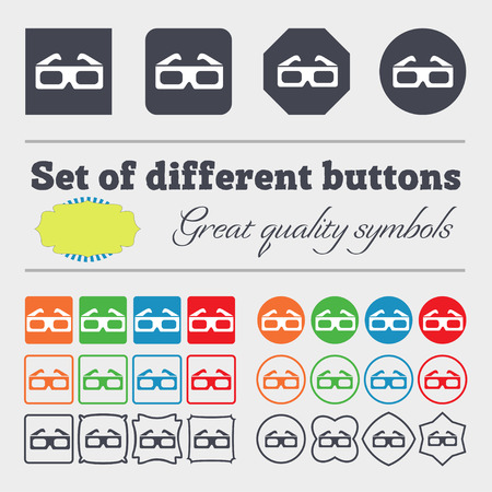 stereoscope: 3d glasses icon sign. Big set of colorful, diverse, high-quality buttons. illustration