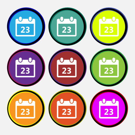 calendar page: calendar page icon sign. Nine multi colored round buttons. illustration