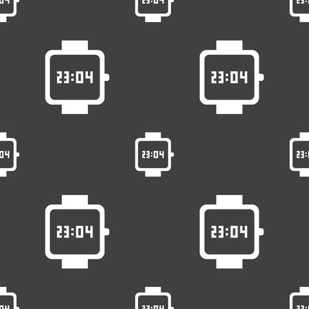 watch face: wristwatch icon sign. Seamless pattern on a gray background. illustration