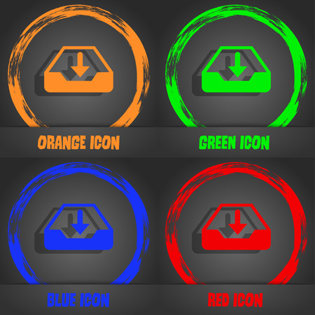 restore: Restore icon. Fashionable modern style. In the orange, green, blue, red design. Vector illustration