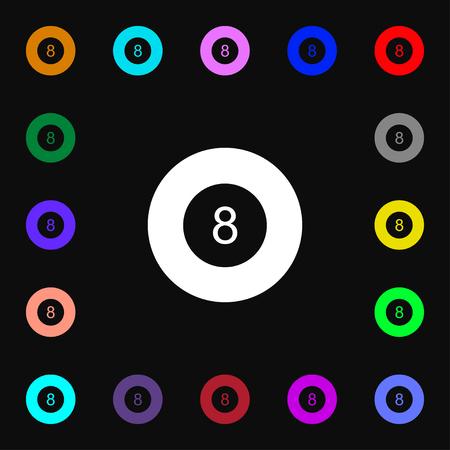 Eightball Billiards Icon Symbol Set Of Five Colorful Stylish
