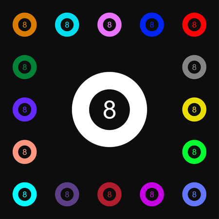 Eightball, Billiards  icon sign. Lots of colorful symbols for your design. Vector illustration