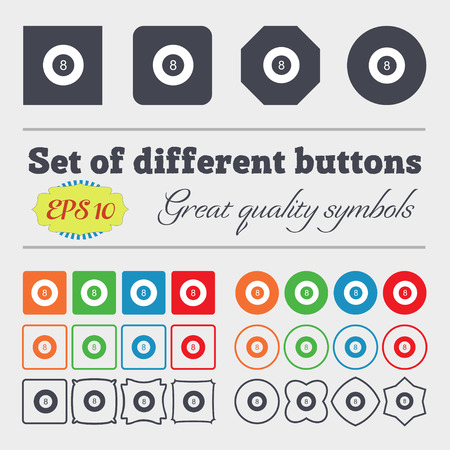eightball: Eightball, Billiards  icon sign. Big set of colorful, diverse, high-quality buttons. Vector illustration Stock Photo