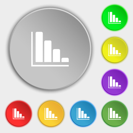 economic forecast: Infographic icon sign. Symbol on eight flat buttons. illustration